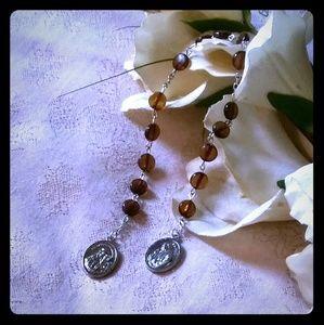 Vintage Topaz Color Lucite Bead Catholic Rosary
